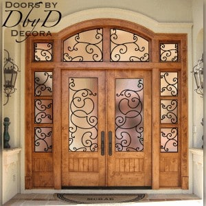 A close up look at this country french entry unit featuring custom wrought iron grills.