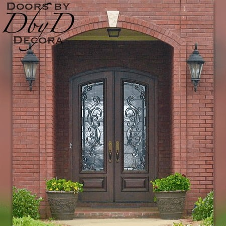 These country french doors feature traditional leaded glass.