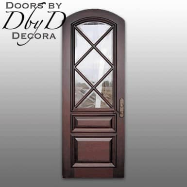 This simple segment top country french door features beveled glass.