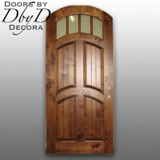 A simple country french door with raised v-groove panels.