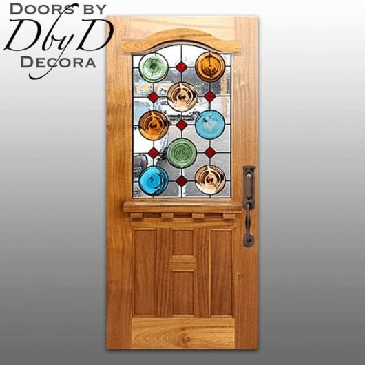 This country french door has multiple rondel pieces in the leaded glass.