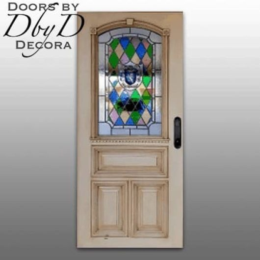 A country french door with stained glass and a custom painted family crest.