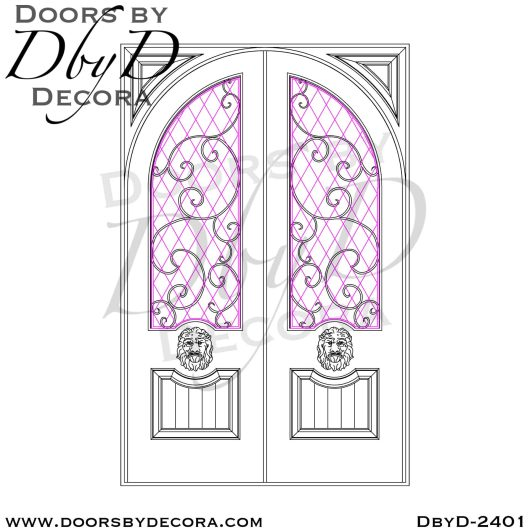 french country leaded glass lion doors