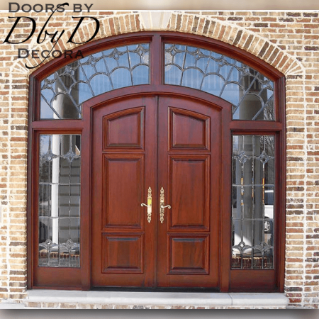A close-up shot of this beautiful country french door with custom leaded beveled glass.