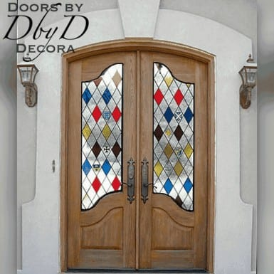 These country french doors feature custom designed stained glass.