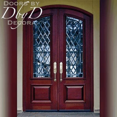 These country french doors feature leaded beveled glass.
