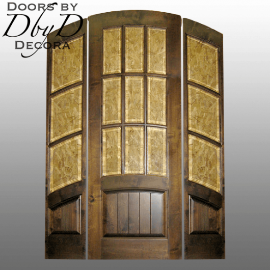 This country french unit features beveled glass and raised v-groove panels.