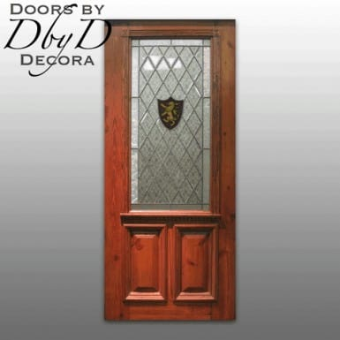This country french door features leaded glass and a hand painted lion crest.