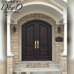 A pair of elegant country french doors with a common segment arch.