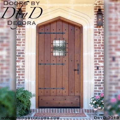 old world gothic arch plank door