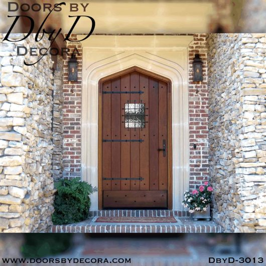 old world gothic arch plank door