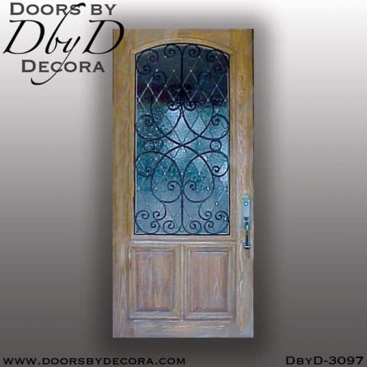 old world leaded glass door with iron