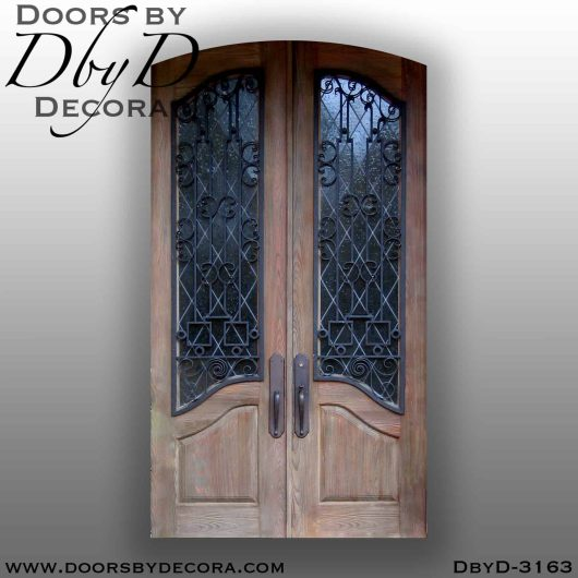 old world leaded glass doors with iron