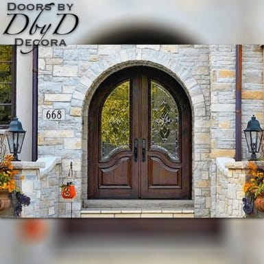 These old world doors feature a common radius top and traditional leaded glass.