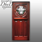 A traditional craftsman style door shown with custom stained glass.