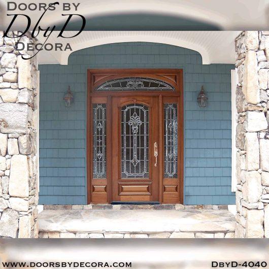 craftsman door with leaded glass