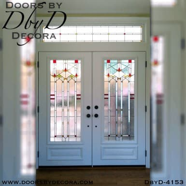 craftsman double doors with art glass
