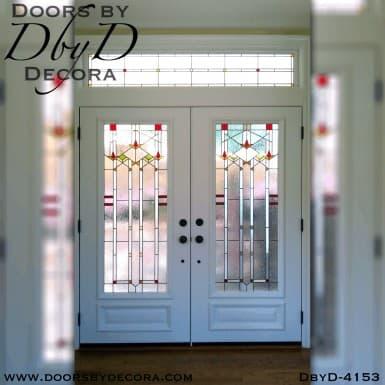 craftsman double doors with art glass