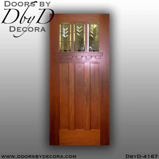 craftsman three lite door with art glass