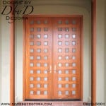 contemporary wood and glass double doors