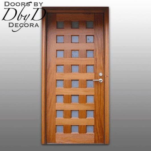 A single, multi-lite contemporary door.
