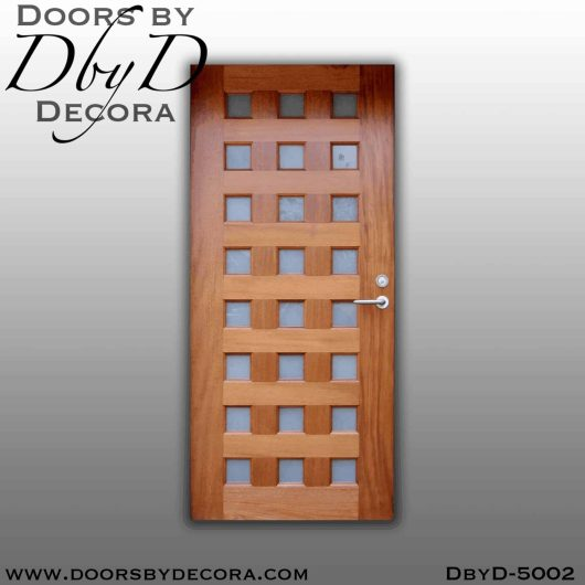 contemporary wood and glass door