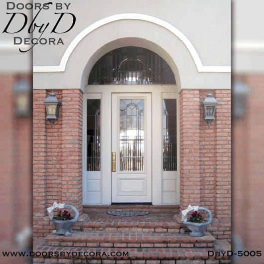 contemporary leaded glass door unit