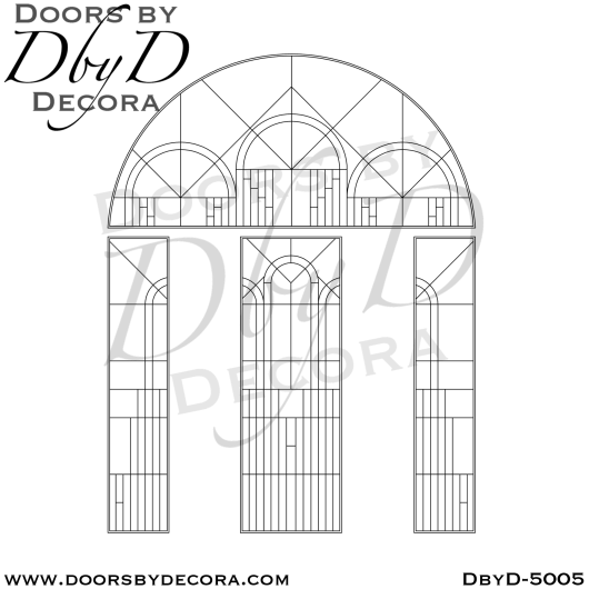 contemporary leaded glass door unit