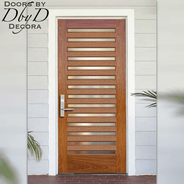 Stainless Steel panels highlight this contemporary door.