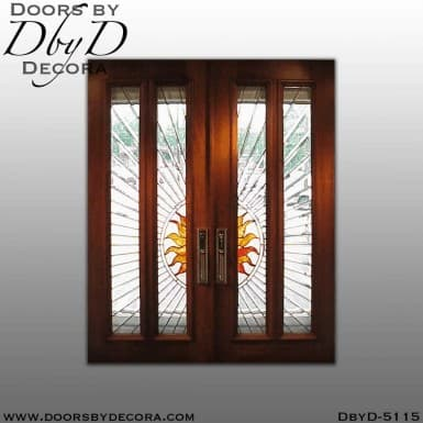 contemporary sunburst leaded glass doors