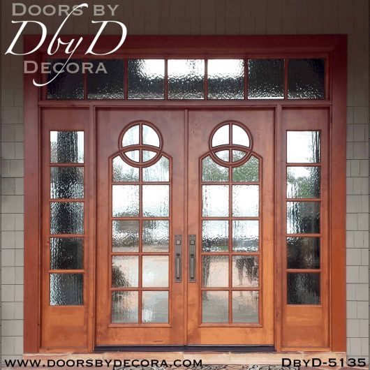 contemporary double doors with sidelites and transom
