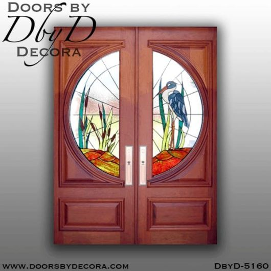 contemporary doors with blue heron