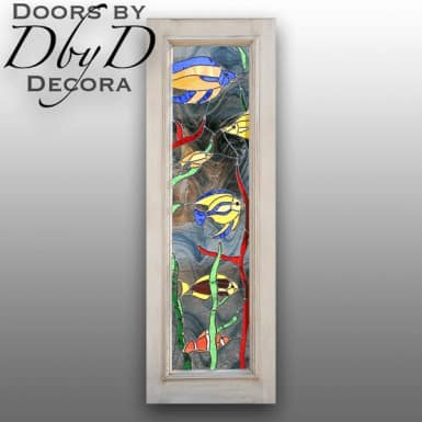 This contemporary door features a beautiful leaded glass design of swimming fish.