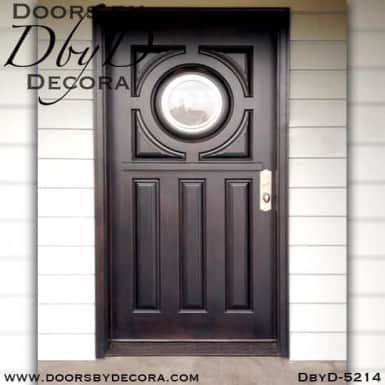 contemporary door with round glass