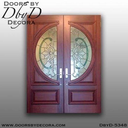 contemporary stained glass double doors