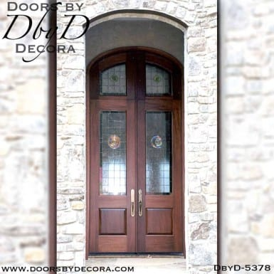 contemporary double doors with leaded glass