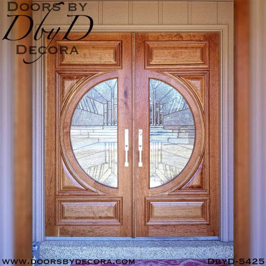 contemporary leaded glass double doors