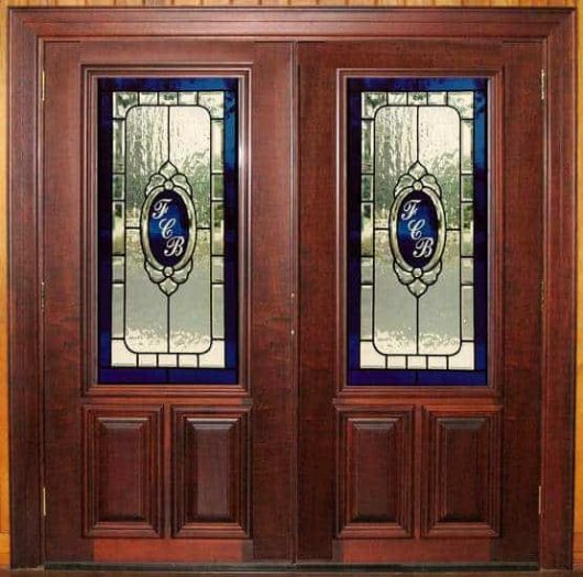 A close-up look at the custom stained glass in these bank doors.