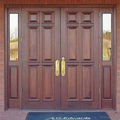 Double doors when with two small side lites.