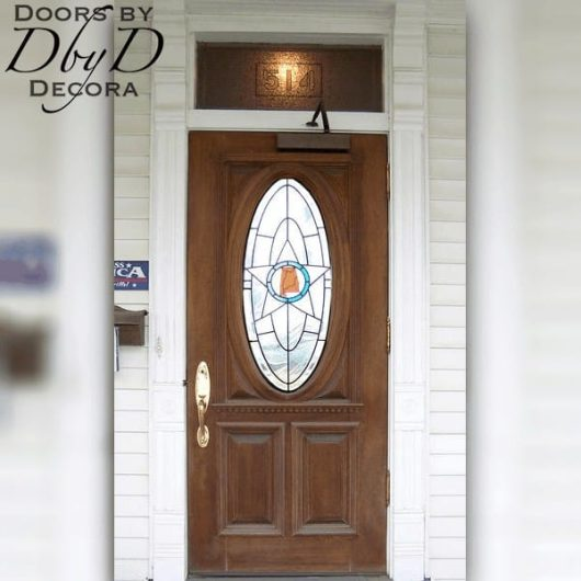 Custom stained glass can be found in the middle of this standard oval door.
