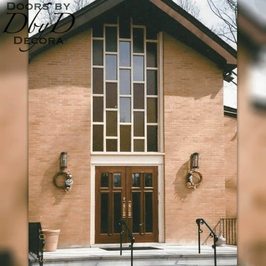 A pair of our double cross doors adorn the front of this church.