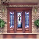 A beautiful door and two side lites shown with custom stained glass and custom jamb molding.
