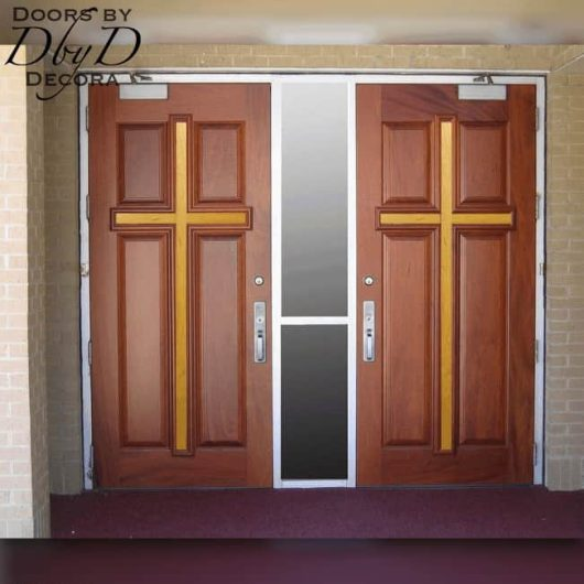 Our standard cross doors with the center cross shown with a different stain color.