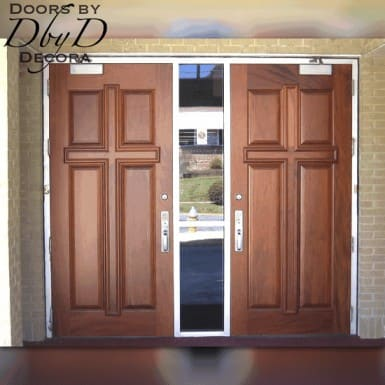 This pair of doors shows our standard cross configuration with solid panels.