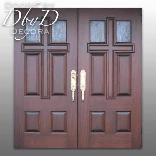"""A variation of our standard """"cross doors"""" featuring both glass and wood panels."""