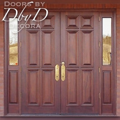 These church doors feature a standard pair of six panel doors with two side lites.
