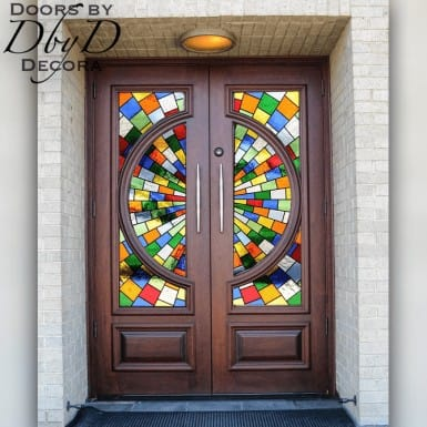 This is a pair of rectangular topped custom church doors featuring beautiful and colorful leaded glass.