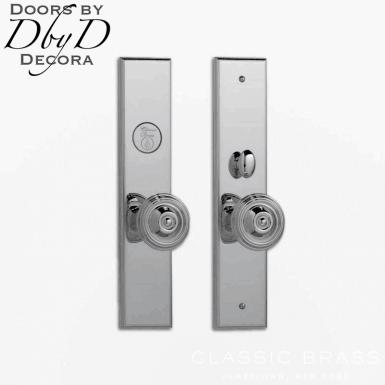 Classic Brass Chautauqua rectangular knob set.