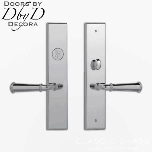 Classic Brass chautauqua rectangular lever set.