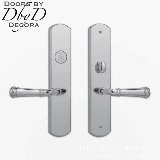 Classic Brass chautauqua arched lever set.